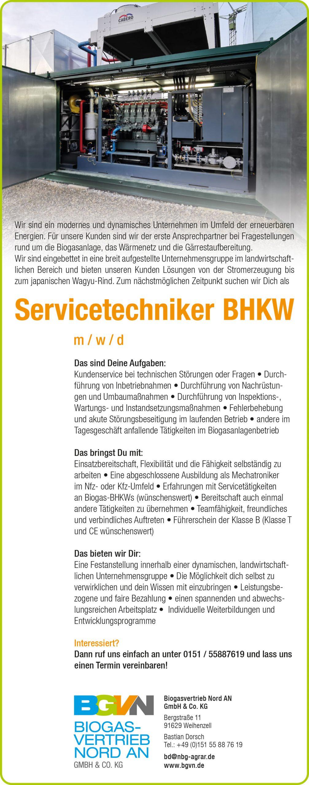 Stellenanzeige BGVN, Servicetechniker m/w/d